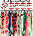 6 New Radiant Lures Hoochies Nosering Squirts Stainless Hooks UV Army truck